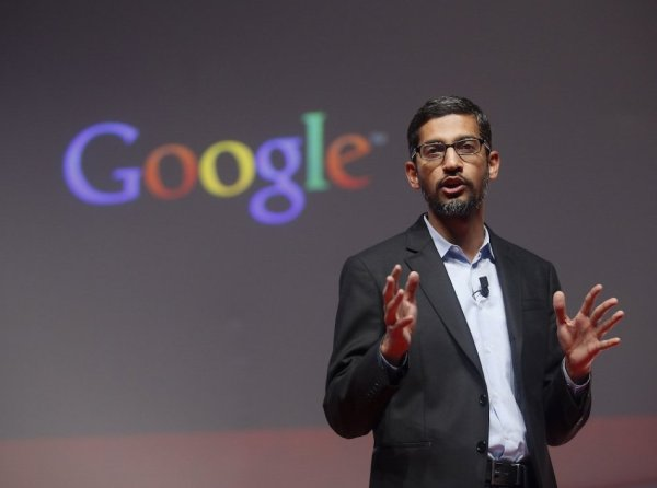 Sundar-Pichai-Googles-senior-vice-president-of-products-speaks-during-a-presentation-at-the-Mobile...