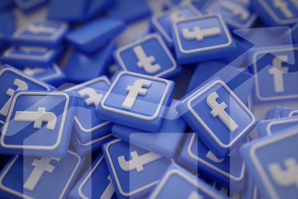 Pile of 3D Facebook Logos